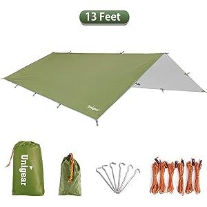 Ripstop Material Survival Rain-Fly Basha Waterproof /& UV Protective 3m x 3m Tarpaulin Tent Shelter /& 1.5m x 1.4m Picnic Groundsheet Peak Performance Camping Shelter Tarp /& Ground Blanket