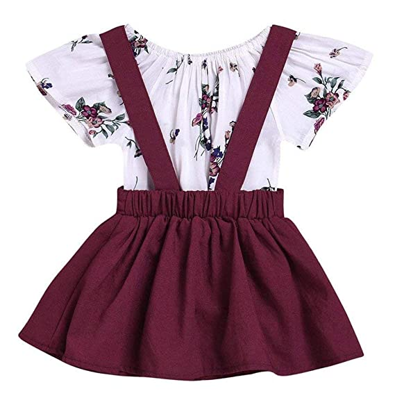 62d530d2f41 LOliSWan 2Pcs Infant Toddler Baby Girls Summer Boho Floral Rompers Jumpsuit  Strap Skirt Overall Dress Outfits