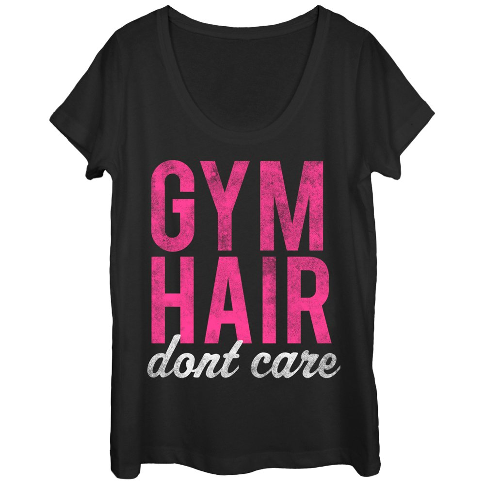 Chin Up Women's Gym Hair Don't Care Scoop Neck T-Shirt