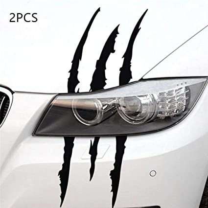 YGMONER 2PCS Claw Marks Decal Reflective Sticker for Car Headlamp black