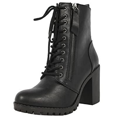 Soda Malia Round Toe Stacked Lug Heel Lace Up Ankle Booties   Ankle & Bootie