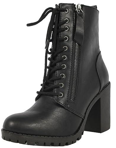 1d10e0ec707 SODA Women's Malia Faux Leather Lace Up Chunky Ankle Boot, Black, ...
