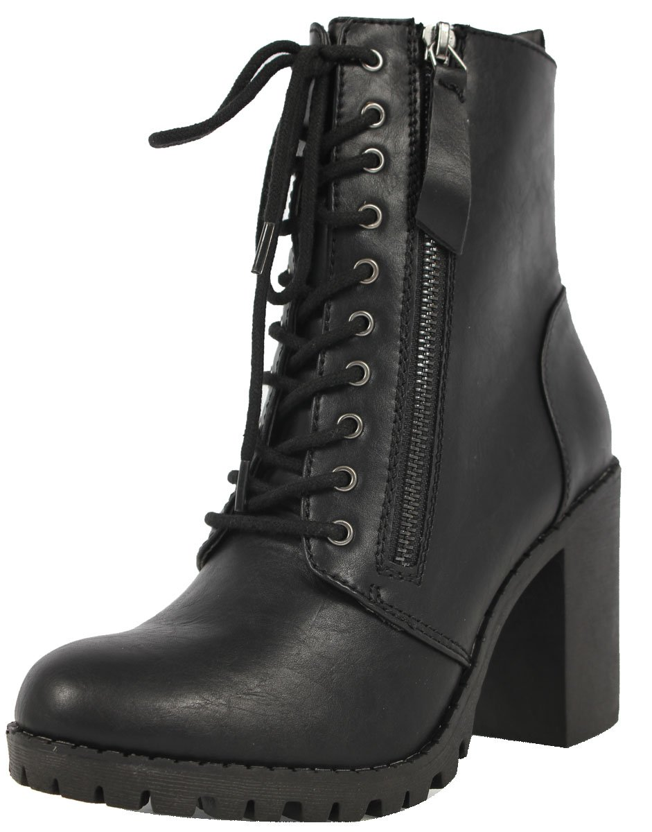 Soda Women's Malia Faux Leather Lace Up Chunky Ankle Boot, Black, 7.5 M US