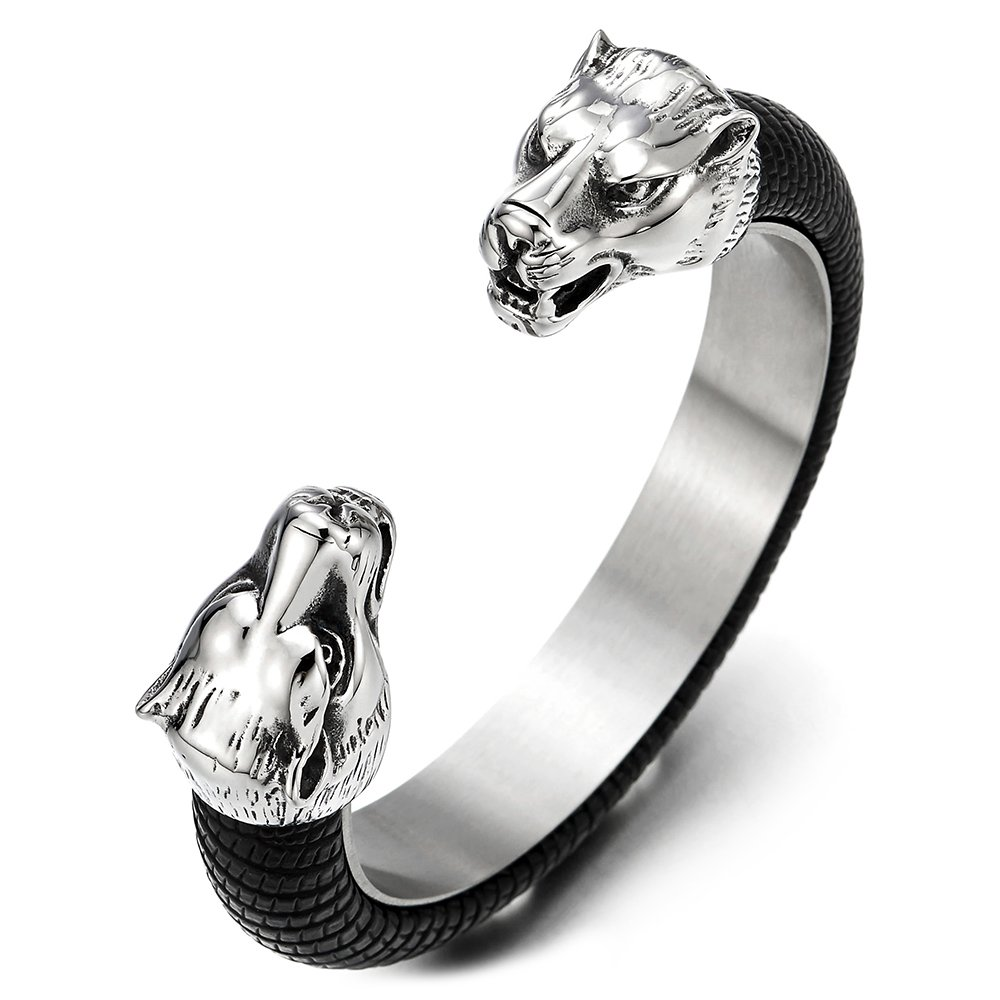 Mens Steel Wolf Head Open Cuff Bangle Bracelet Inlaid with Black Leather Elastic Adjustable