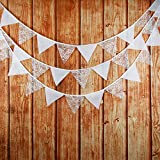 Get Orange 2 piece 126 Inch Country Vintage Favors Event Party Supplies Decoration Wedding White Lace Triangle Flags Cotton Decor Banner Banner banquet