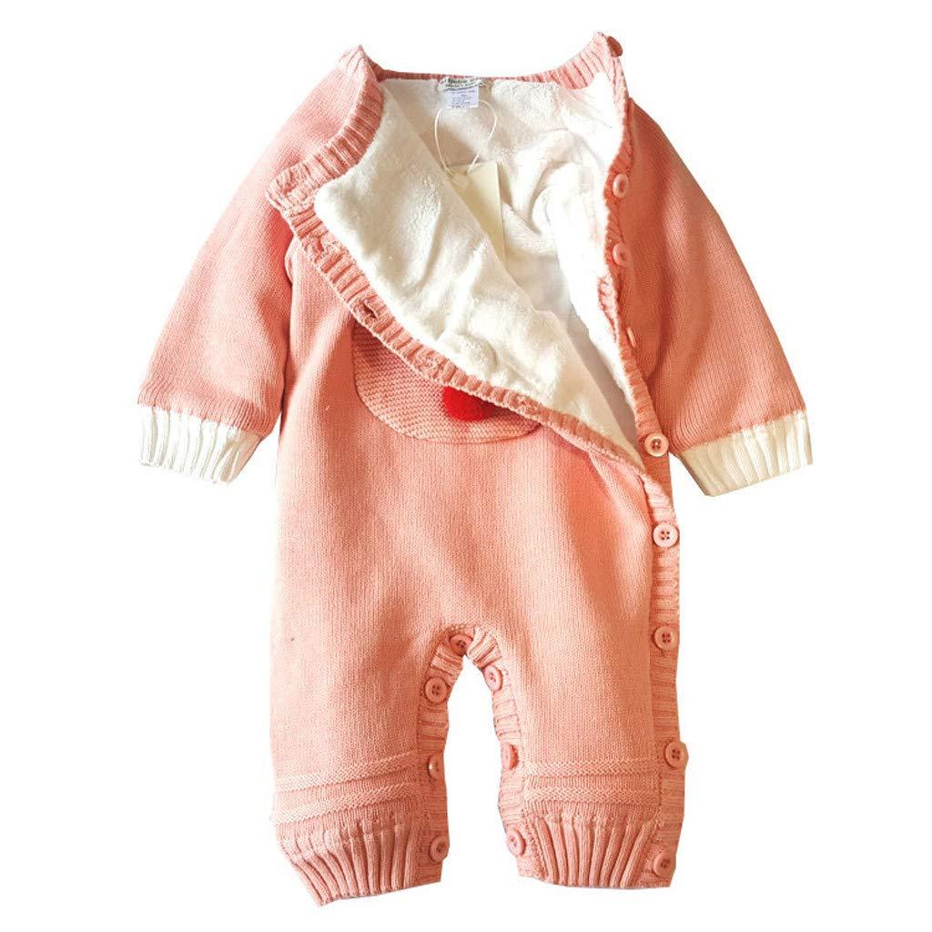 0-18M Christmas Gift Newborn Baby Boy Girl Deer Plush Jumpsuit,Cartoon knitted Romper Winter Thickening Sweater
