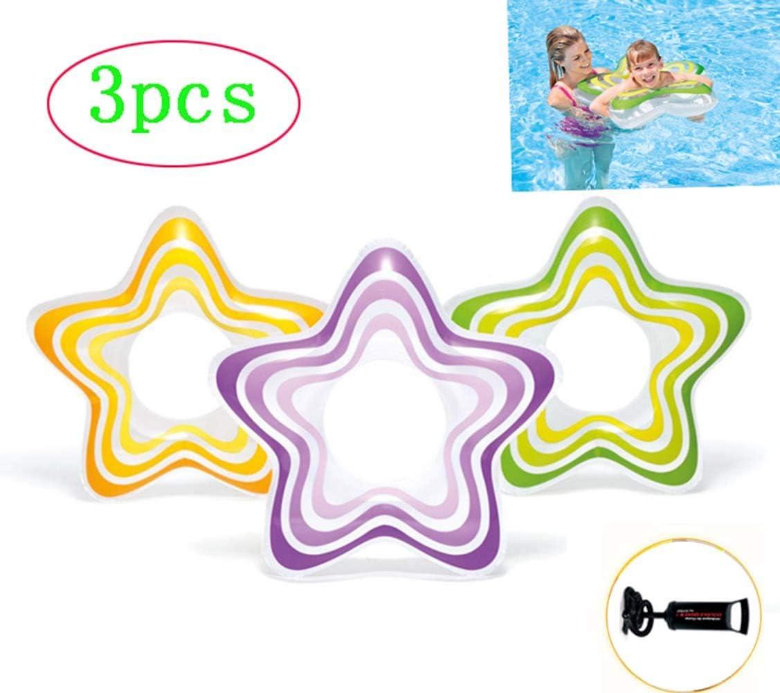 Thole 3 Packs Flotador Bebé Pentagrama Flotador Anillo De NatacióN Swim Ring Inflable Bomba De Mano Apto para NiñOs De 1 A 6 AñOs