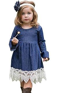 01b9ac94b46 Girls Princess Long Sleeve Denim Lace Evening Dress Kids Party Dress