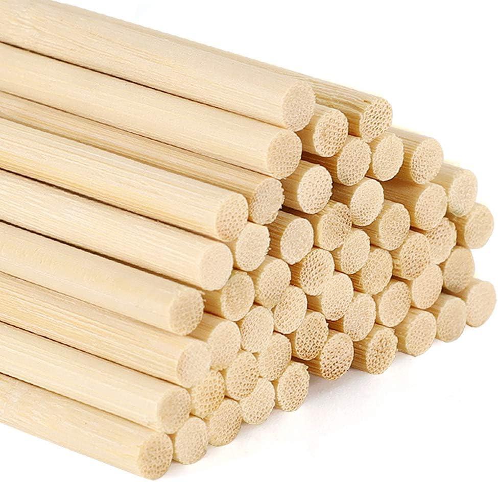 Palos redondos de madera BiuZi 100Pcs 80mm Palitos redondos Abedul Color de madera original Tacos de madera Herramienta artesanal para manualidades de madera DIY Decoraci/ón del jard/ín del hogar