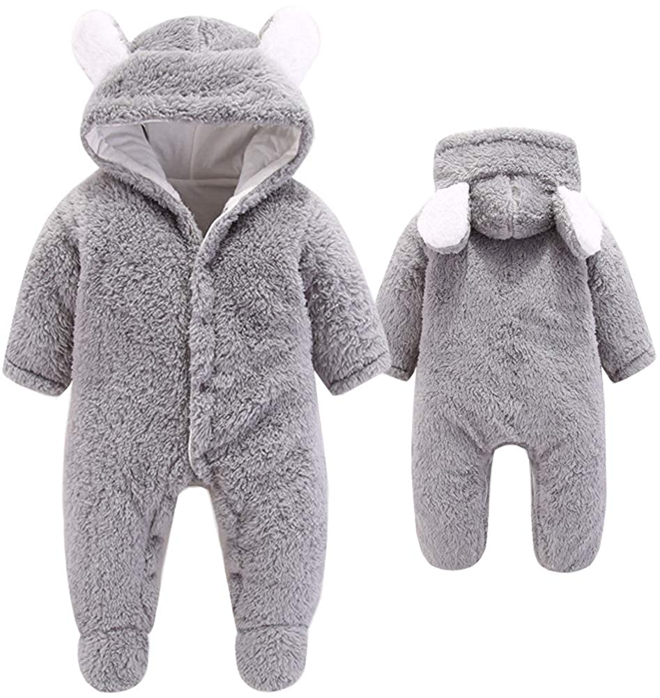 Newborn Baby Girls 3D Cartoon Bear Hooded Romper Warm Fleece Jumpsuit Outfits