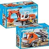 PLAYMOBIL® City Action Chantier Set en 2 parties 6860 6861 pelle avec soc + camion de Chantier