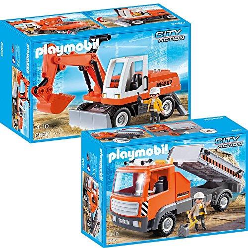 Playmobil city action chantier set en 2 parties 6860 6861 - Playmobil camion chantier ...