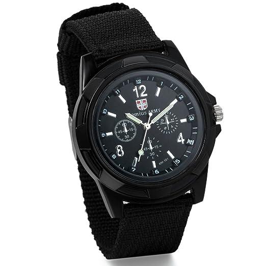 Jewelrywe Relojes Hombre Trenzado Negro Militar de Pilotos Reloj Deportivo Estilo Militar: Amazon.es: Relojes