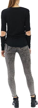 trueprodigy Casual Mujer Marca Camiseta Manga Larga con impresión Estampada Ropa Retro Vintage Rock Vestir Moda Cuello Redondo Slim Fit Designer Fashion Shirt