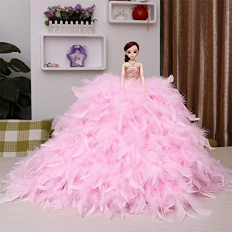 Amazon.com: Kingbridal Blonde Bride Dolls Pink Feather Tiered ...