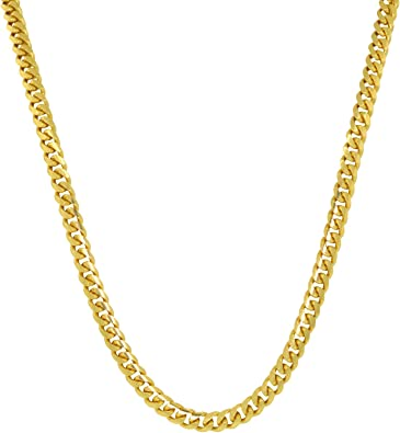 Yellow Gold-Plated Sterling Silver Round Cut Cubic Zirconia 5mm Wide 1 Row Tennis Chain Hip Hop Necklace