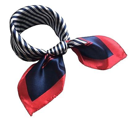 Foulard carré à rayures en soie naturelle 52 CM (Couleur A)  Amazon.fr   Vêtements et accessoires bfeeeb16d42
