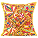 EYES OF INDIA - 16'' Yellow Patchwork Throw Sofa Pillow Couch Cushion Cover Boho Indian Bohemian