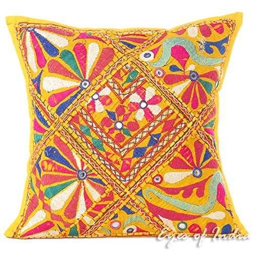 EYES OF INDIA - 16'' Yellow Patchwork Throw Sofa Pillow Couch Cushion Cover Boho Indian Bohemian by Eyes of India
