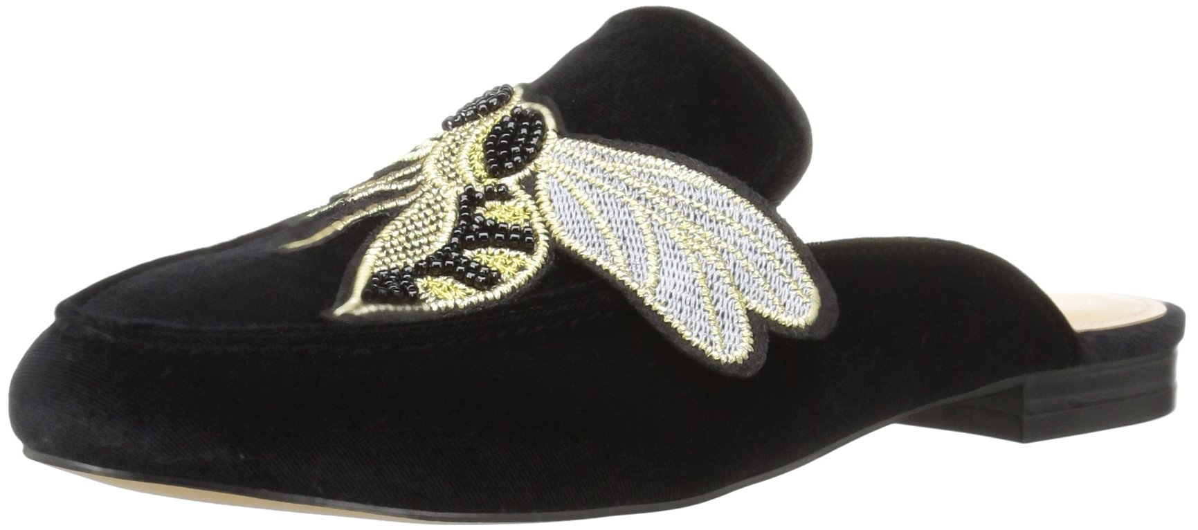 The Fix Women's Fay Embellished Slide Smoking Loafer, Black/Bumblebee Patch, 6 M Us