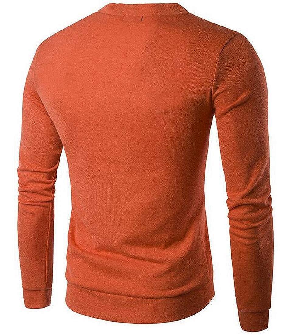 BYWX Men Flat Knit Long Sleeve V-Neck Pocket Cardigan Sweater