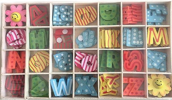 letras de madera para manualidades decora letras may/úsculas de madera peque/ñas con bandeja de almacenamiento madera natural suave para manualidades Juego de letras y flores de madera de 112 piezas