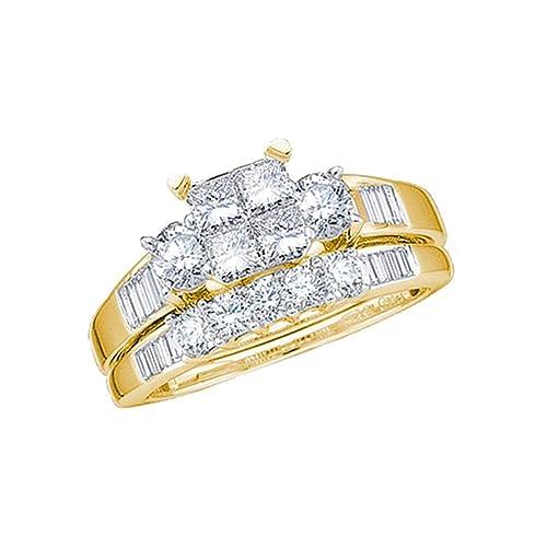 14 K Amarillo Oro Diamante grande anillo de compromiso para novia ...