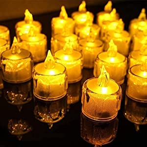SunKite LED Tea Lights, 24 Pack Flameless Candles Flickering Warm Yellow 100+ Hours Battery Powered Unscented Lamp for Christmas Party, Wedding, Birthday, Gifts, Home Decoration