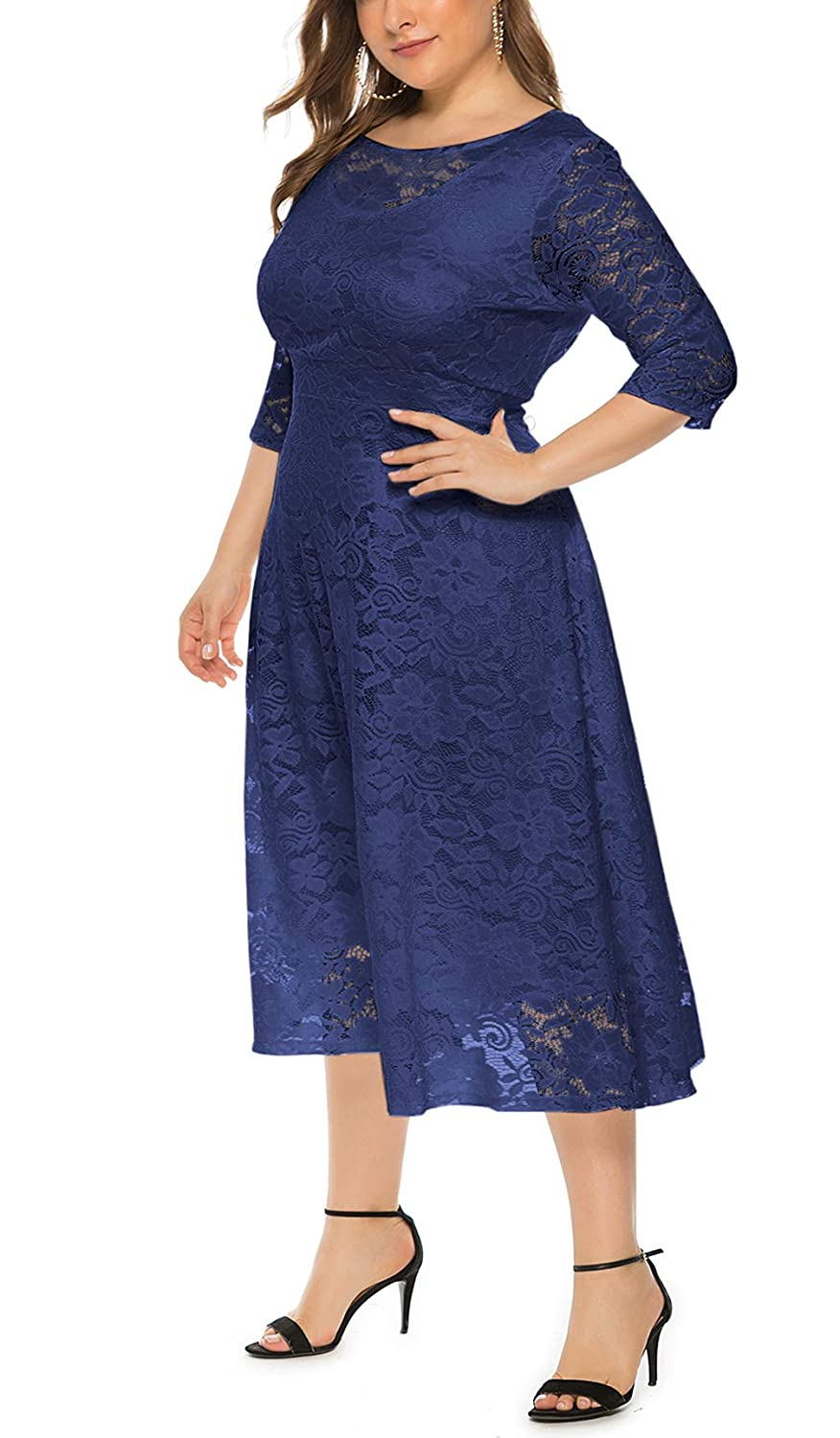 Eternatastic Womens Floral lace Plus Size Midi Dress Scooped Neckline Cocktail Party Dress