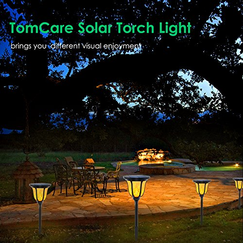 Tomcare Solar Torches Lights Waterproof Flickering Flame