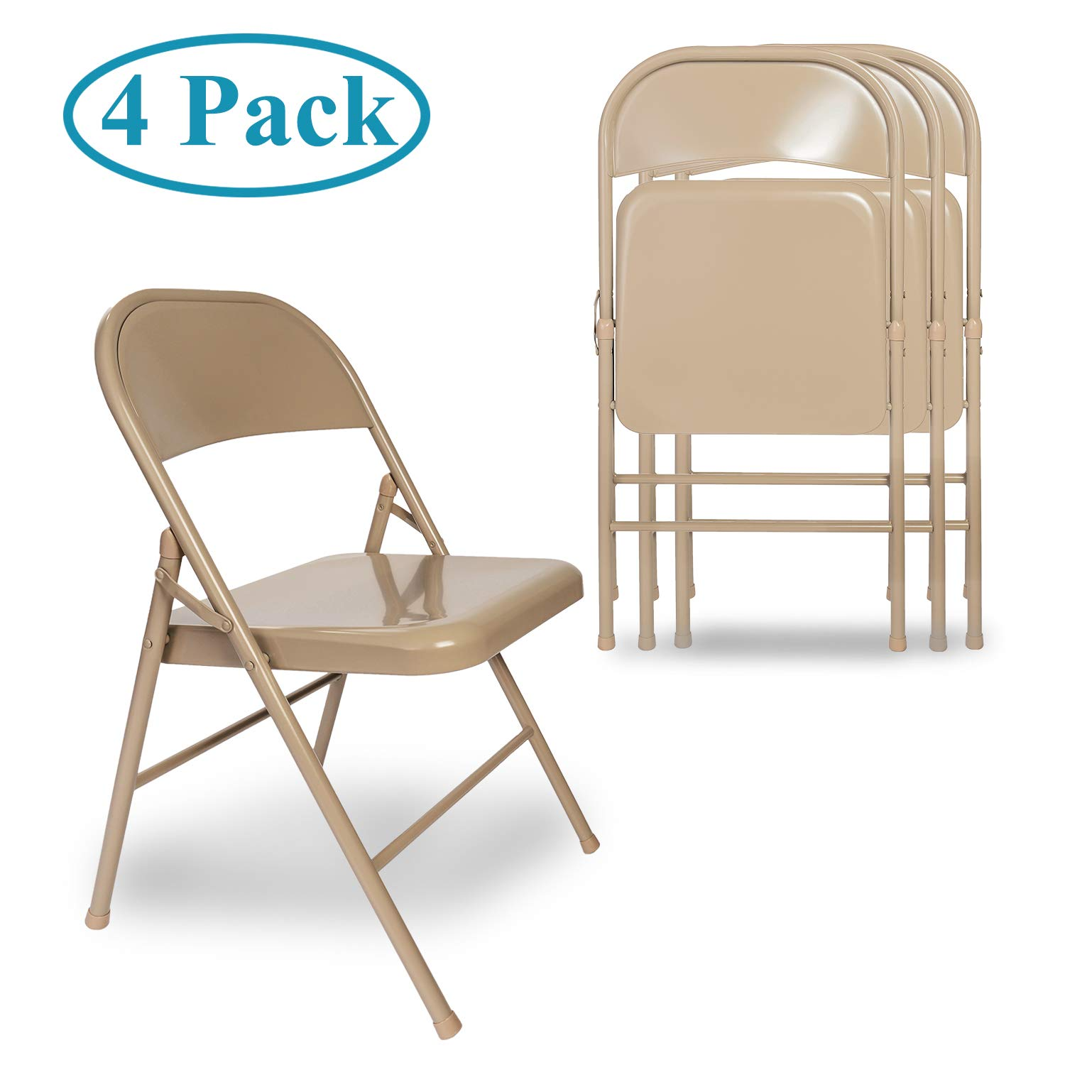 VECELO Folding Chair Back with Metal Frame for Home Office Set of 4 Beige