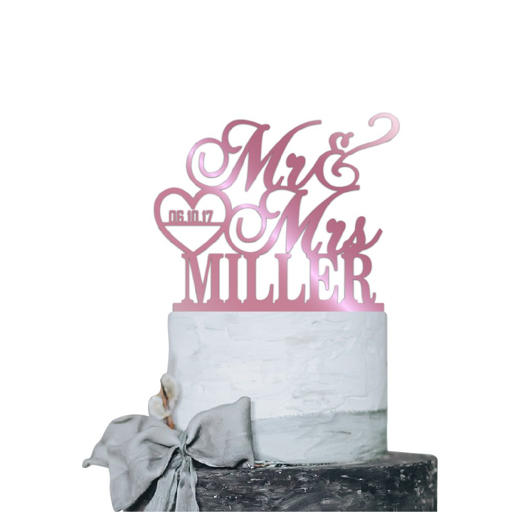 P Lab Personalized Cake Topper Mr. Mrs. Last Name Custom Date 2 Wedding Cake Topper Acrylic Decoration for Special Event Pink Mirror