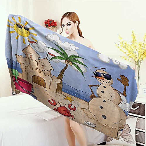 Large Bath Towel Children Sand Snowman with Castle Crab Seashell on Tropical Beach Enjoying Sun Cartoon Print Adults Soft Absorbent Quick Dry Blanket 63