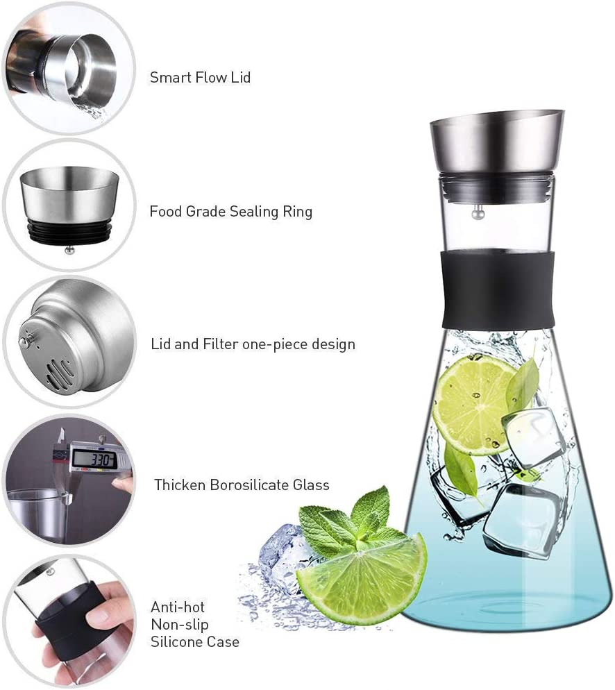 54 Oz Large Capacity Water Tea Pot with Filter Spout Iced Tea Pitcher Brush and Coaster Included JIAQI Glass Water Pitcher with Lid
