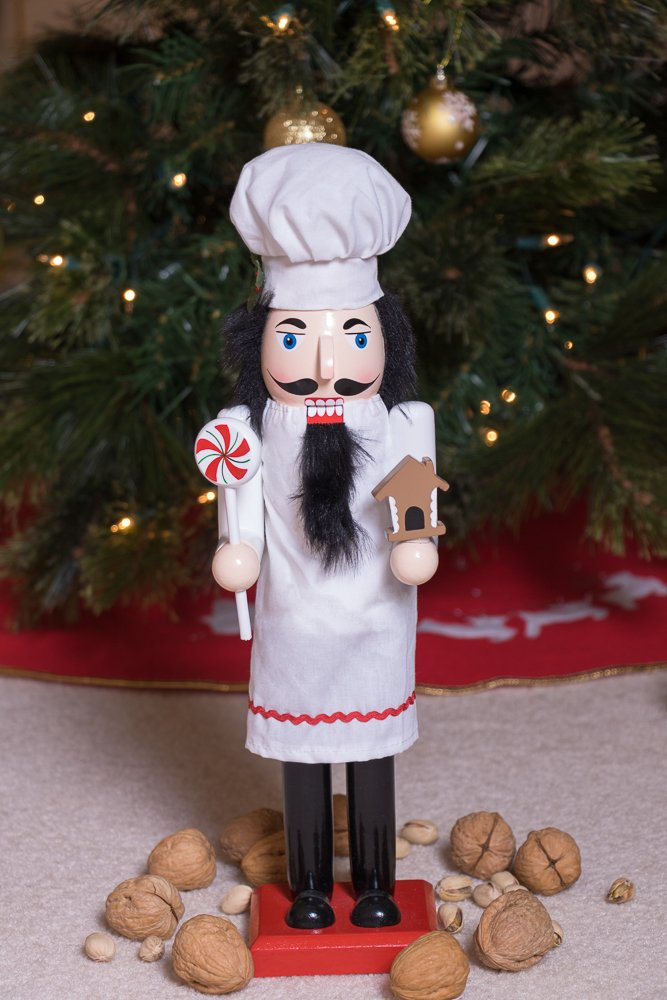 Baker Chef Nutcracker by Clever Creations | Baker Wearing White Apron with Red Trim and White Chefs Hat | Collectable Festive Christmas Decor | 100% Wood Perfect for Shelves and Tables | 15'' Tall by Clever Creations (Image #5)