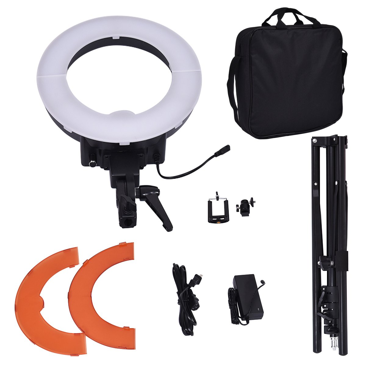 Safstar 12'' LED Ring Light Flash Video Light 35W 5600K Dimmable with Stand, Plastic Color Filter Set, Carrying Case for Smartphone, Youtube, Vine Self-Portrait Video Shooting by S AFSTAR