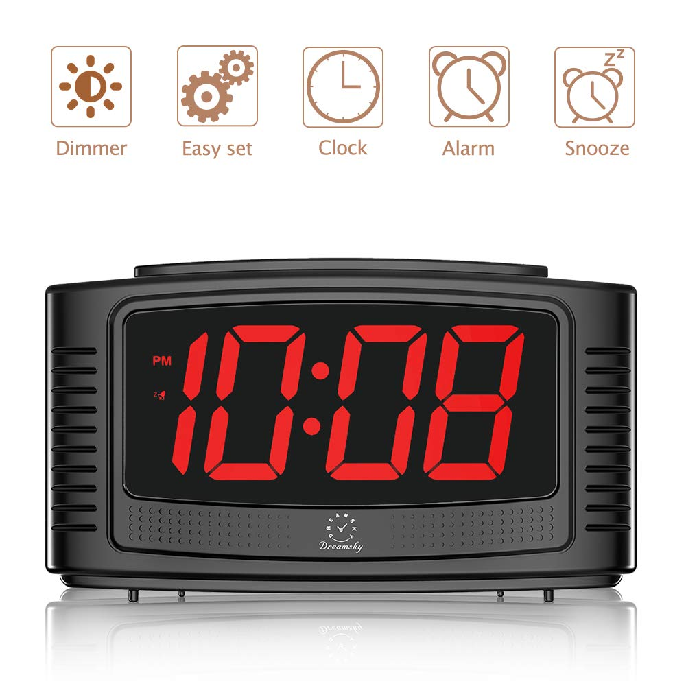 DreamSky Little Digital Alarm Clock with Snooze, 1.2 Inch Clear Led Digit  Display with Dimmer, Simple to Operate, Plug in Clock for Bedroom.