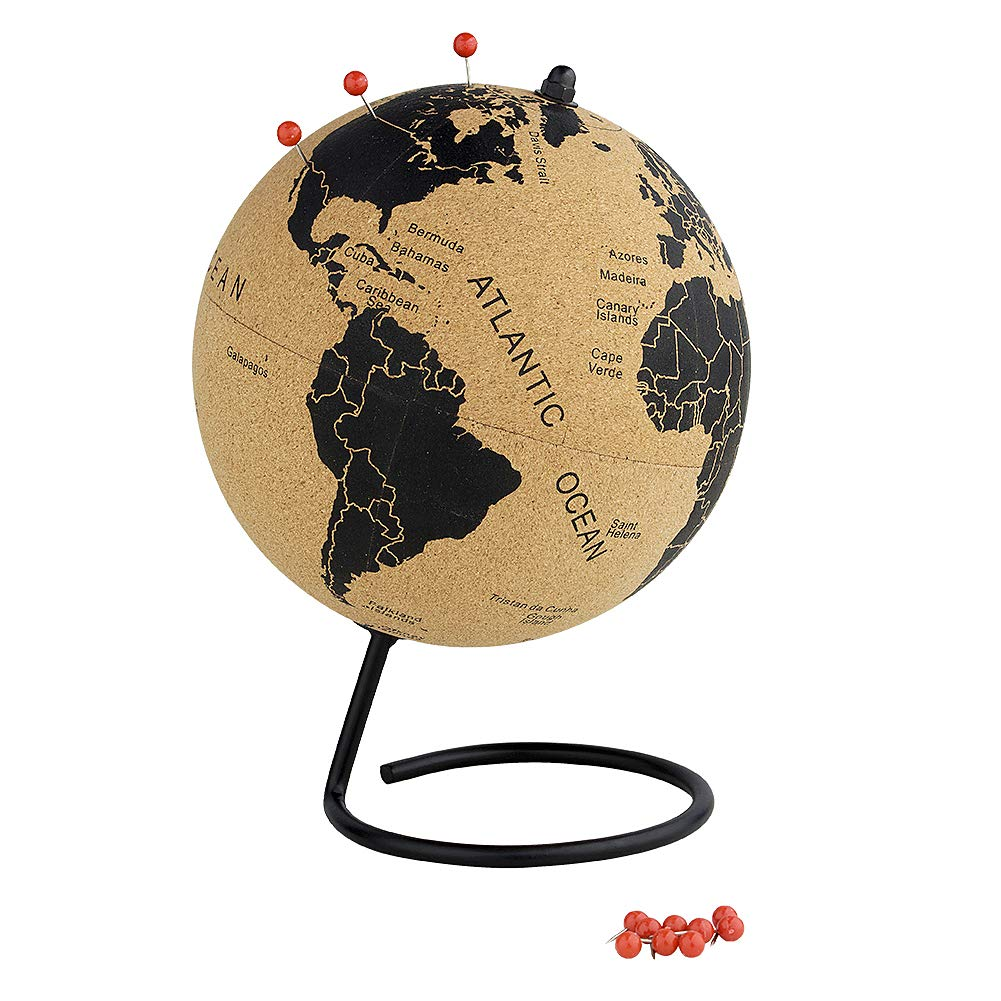 Medium Cork Globe - 7 Inches Educational World Map - Desktop World Globe - Spin Easy - with 12 Pins - Handmade for Home Office Classroom
