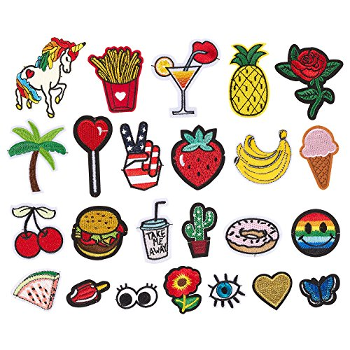 Pack of 24 Assorted Patches - Sew On or Iron On - DIY Embroidery for Clothing, Jackets, Patchwork and More, Assorted Colors