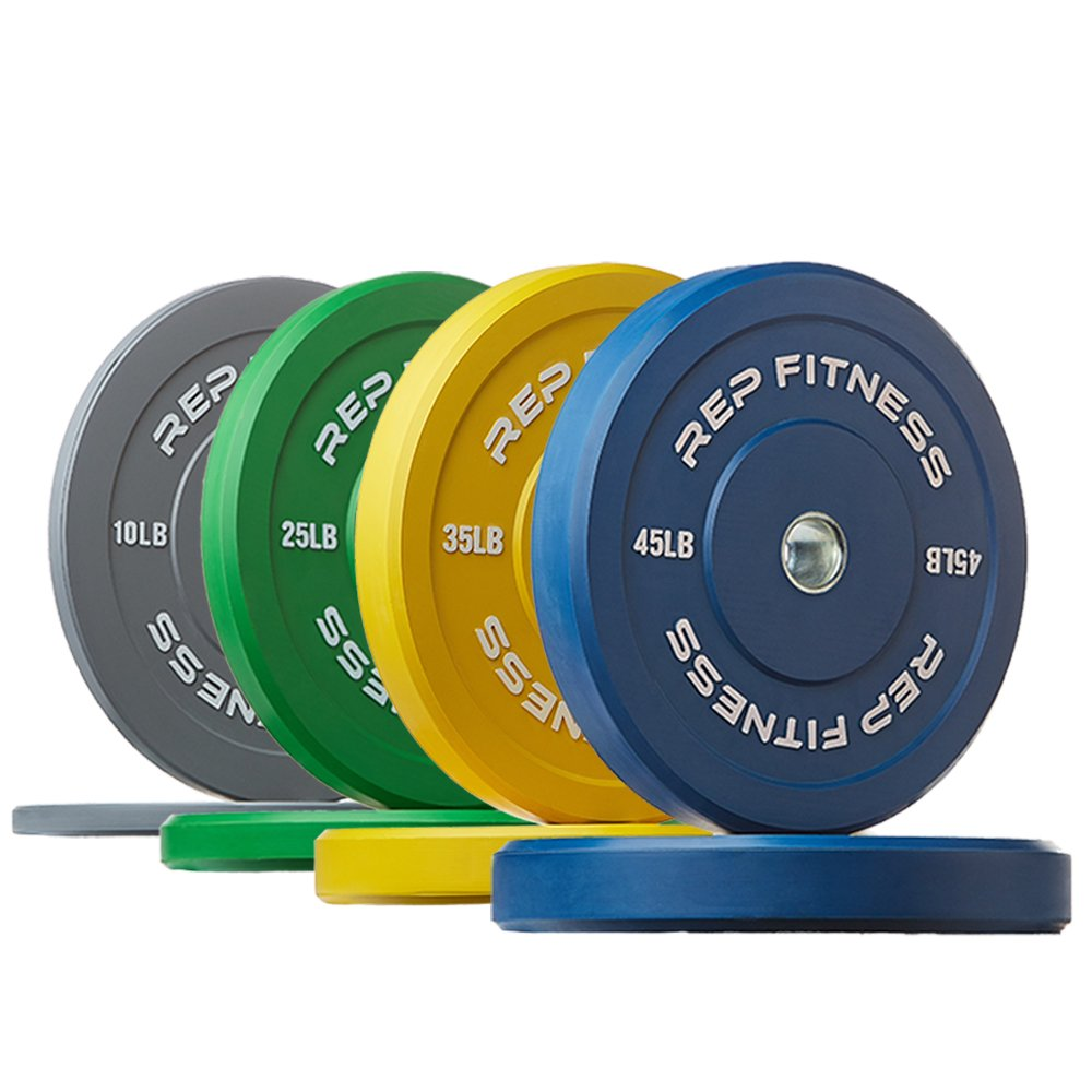 Rep Color Bumper Plates for Strength and Conditioning Workoutsand Weightlifting, 230 lb Set