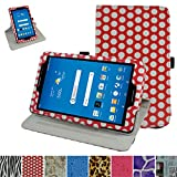 AT&T Trek 2 HD Rotating Case (Model 6461A),Mama Mouth 360 Degree Rotary Stand with Cute Cover for 8' AT&T Trek 2 HD 8 inch 4G LTE Android Tablet 2016,Polkadot Red
