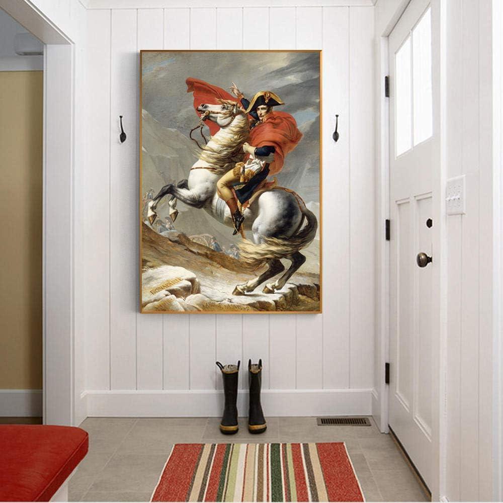 WDZSHJ Impresión De Lienzopóster De Pared De Napoleón Cruzando Los Alpes por Jacques Pinturas sobre La Pared Reproducciones Napoleón Cuadros Imagen para La Decoración del Hogar,70X100Cm Sin Marco