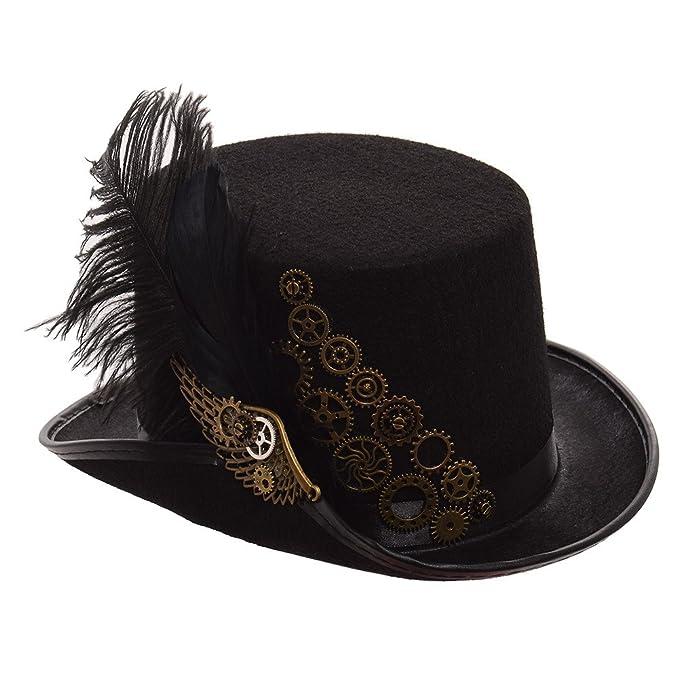 GRACEART Steampunk Negro Pluma Engranajes Parte Superior Sombrero   Amazon.es  Ropa y accesorios 6beb335221c