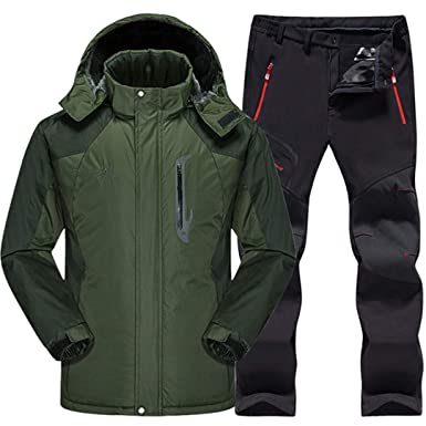 Men Waterproof Thermal Snowboard Fleece Jacket + Pants Mountain Skiing  Snowboarding Winter Snow Clothes Set Army db0a5d08f