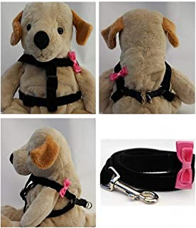 "product image for Diva-Dog 'Pink Bow Tie' Custom 5/8"" Wide Velvet Dog Step-in Harness with Plain or Engraved Buckle, Matching Leash Available - Teacup, XS/S"