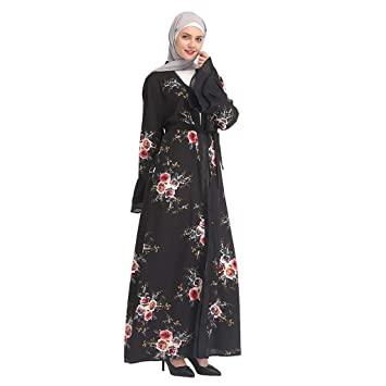 5b791135a26f3 Muslim Hot Rrilling Lace Fashion Black Lace Embroidered Floral Print Loose  Robes Islamic Ramadan