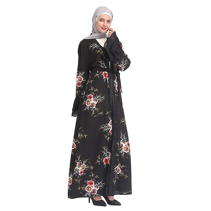d45a7accfd426 Amazon.com: Women Muslim Cardigan Flowy Open Front Abaya Maxi Cover ...