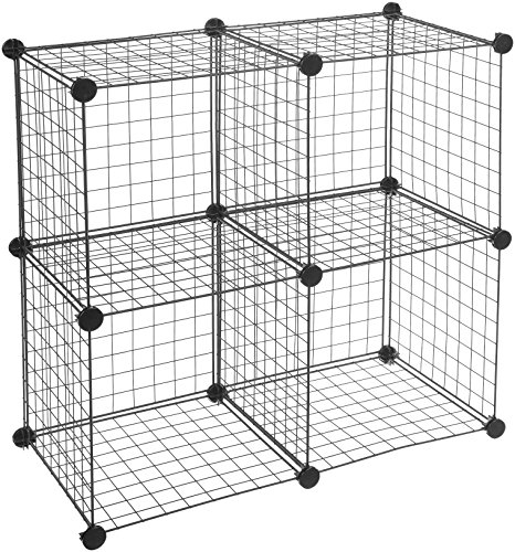 (AmazonBasics 4 Cube Grid Wire Storage Shelves, Black)