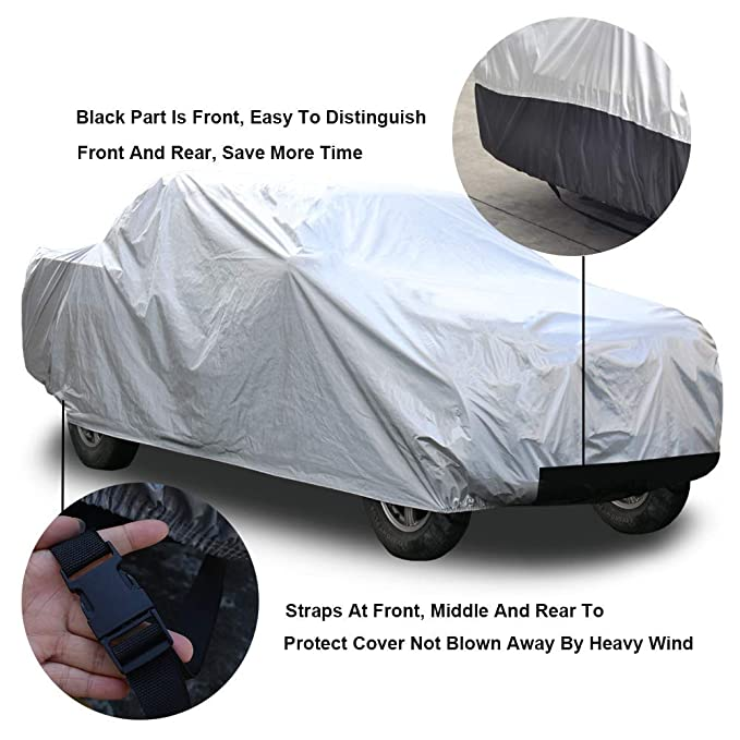 Kayme Four Layers Truck Cover Waterproof All Weather with Cotton Sun Uv Rain Protection for Automobiles Outdoor Truck Pickup Fit Up to 232 L