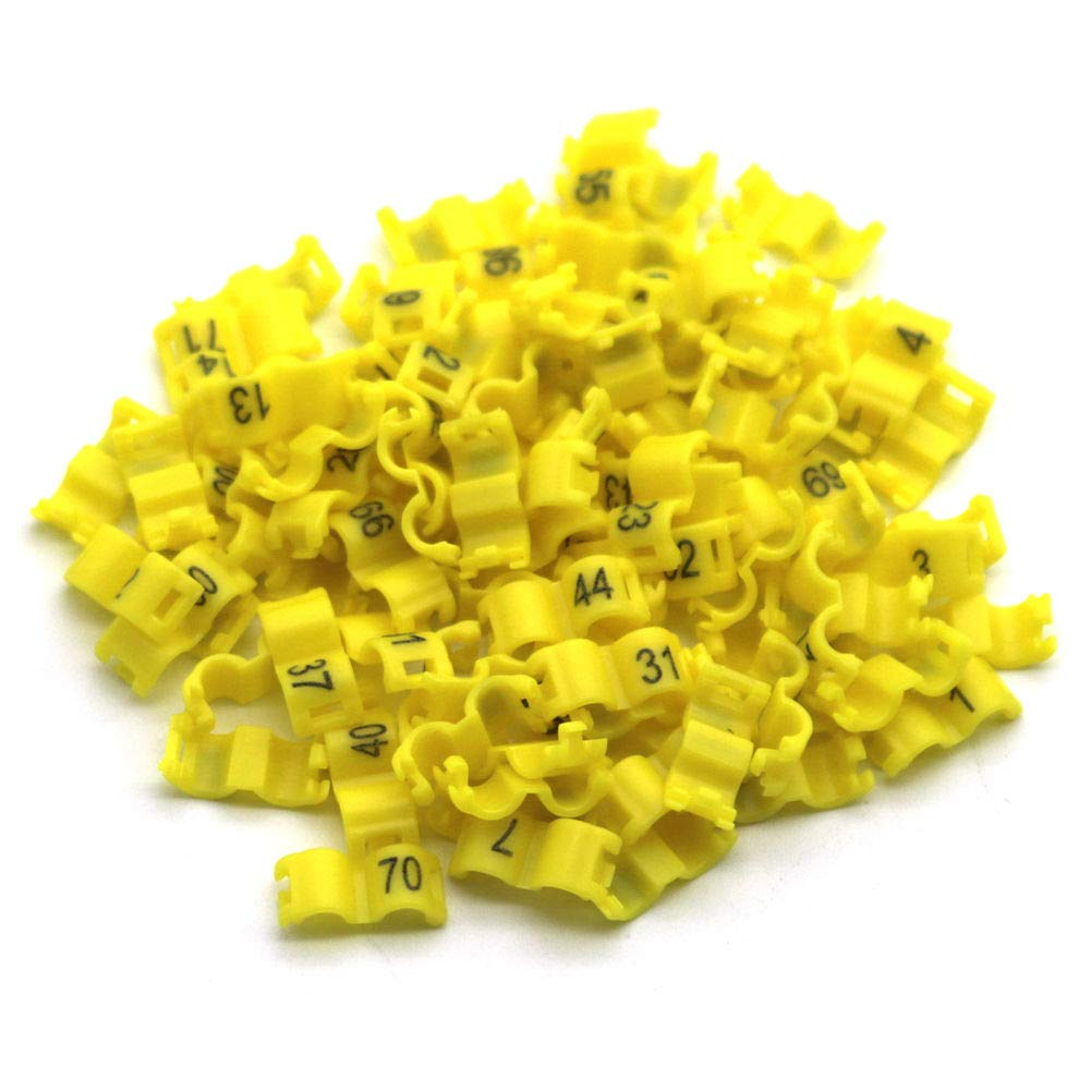 FidgetGear 2.7/3/4/4.5/5 mm Birds Leg Clips Pigeon Rings Bands with Number 1-100 Plastic Yellow 2.7 mm by FidgetGear